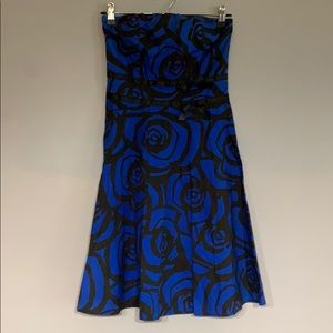Blue Dress with Black Roses